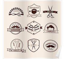 Barbershop Badges Set in Vintage Style Poster