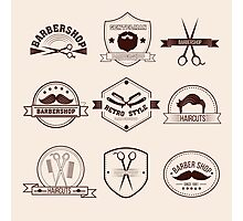 Barbershop Badges Set in Vintage Style Photographic Print