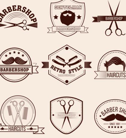 Barbershop Badges Set in Vintage Style Sticker