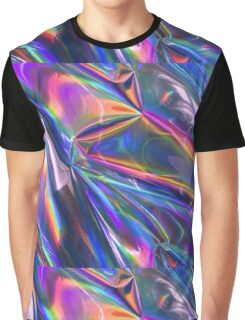 Holographic Material Graphic T-Shirt