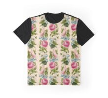 Vintage Pink Roses Repeating Pattern Graphic T-Shirt