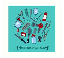 Barber and Hairdresser Tools Set Art Print