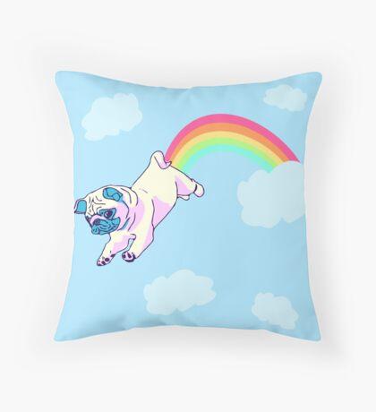rainbow pug Throw Pillow