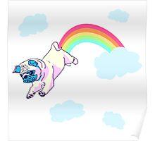 rainbow pug Poster