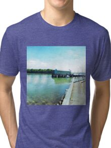 Small pier in the Bay of Islands in Watercolor Tri-blend T-Shirt