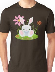 Little Blue Baby Bunny With Flowers Unisex T-Shirt