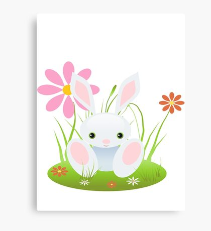 Little Blue Baby Bunny With Flowers Canvas Print