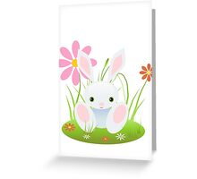 Little Blue Baby Bunny With Flowers Greeting Card