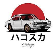 Nissan Skyline GT-R hakosuka (white) Photographic Print