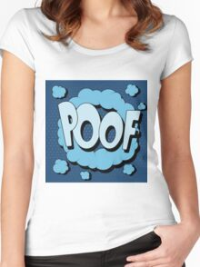 Bubble with Expression Poof in Vintage Comics Style Women's Fitted Scoop T-Shirt