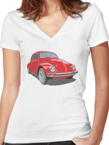 Red Bug Women's Fitted V-Neck T-Shirt
