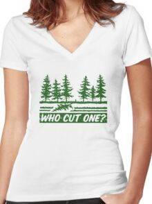 Who Cut One Women's Fitted V-Neck T-Shirt