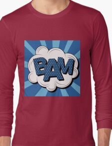 Bubble with Expression Bam in Vintage Comics Style Long Sleeve T-Shirt
