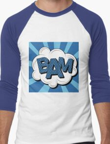 Bubble with Expression Bam in Vintage Comics Style Men's Baseball ¾ T-Shirt