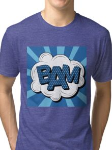 Bubble with Expression Bam in Vintage Comics Style Tri-blend T-Shirt
