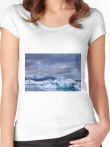 Beautiful view of icebergs in Jokulsarlon glacier lagoon, Iceland Women's Fitted Scoop T-Shirt