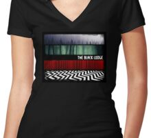 The Black Lodge : Twin Peaks Women's Fitted V-Neck T-Shirt