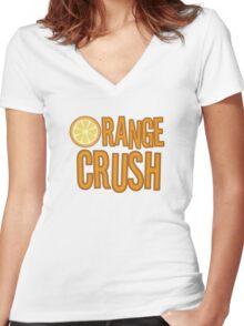 Orange Crush REM Song Lyrics Rock Music Fruit Women's Fitted V-Neck T-Shirt
