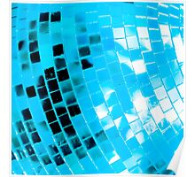 Blue Funky Disco Ball Poster