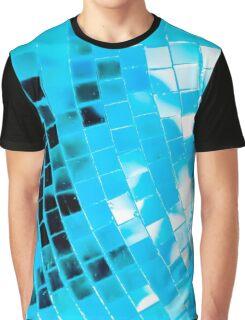 Blue Funky Disco Ball Graphic T-Shirt