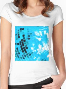 Blue Funky Disco Ball Women's Fitted Scoop T-Shirt