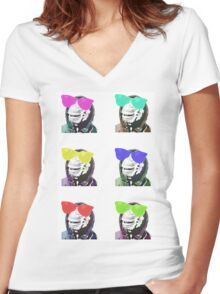 Chimps be Chillin - Grid Colours Women's Fitted V-Neck T-Shirt