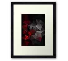 Abstract background of triangles polygon wallpaper in black red colors Framed Print