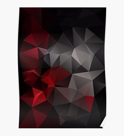 Abstract background of triangles polygon wallpaper in black red colors Poster