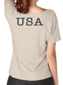 USA, United States of America, Typewriter Font, Pure & Simple Women's Relaxed Fit T-Shirt