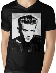 Jimmy Dean: Black & White Mens V-Neck T-Shirt