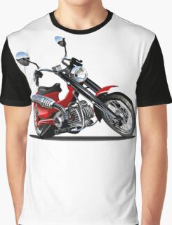 Cartoon Motorcycle Graphic T-Shirt