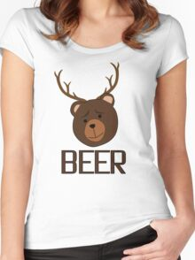 Bear Deer Beer Animals Funny T shirt Grizzly Bear Cool Drinking Drunk Joke Women's Fitted Scoop T-Shirt