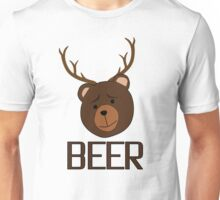 Bear Deer Beer Animals Funny T shirt Grizzly Bear Cool Drinking Drunk Joke Unisex T-Shirt