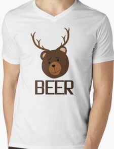 Bear Deer Beer Animals Funny T shirt Grizzly Bear Cool Drinking Drunk Joke Mens V-Neck T-Shirt