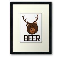 Bear Deer Beer Animals Funny T shirt Grizzly Bear Cool Drinking Drunk Joke Framed Print