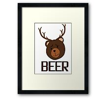 Bear Deer Beer Animals Funny T shirt Grizzly Bear Cool Drinking Drunk Joke Framed Print