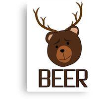 Bear Deer Beer Animals Funny T shirt Grizzly Bear Cool Drinking Drunk Joke Canvas Print