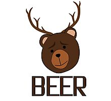 Bear Deer Beer Animals Funny T shirt Grizzly Bear Cool Drinking Drunk Joke Photographic Print