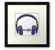 Headphones - Green and Blue Framed Print