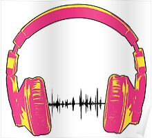 Headphones - Pink and Yellow Poster