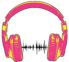 Headphones - Pink and Yellow Photographic Print