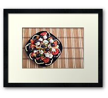 Top view of a Greek salad with fresh vegetables Framed Print