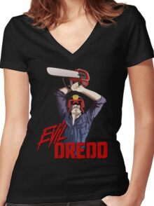 Evil Dredd Women's Fitted V-Neck T-Shirt