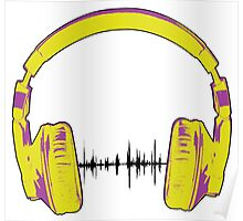 Headphones - Yellow and Purple Poster