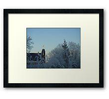 Winter scene with church Framed Print