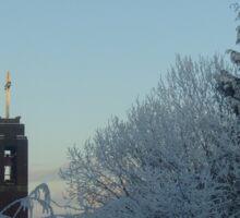 Winter scene with church Sticker