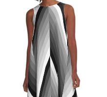 Black and White Herringbone Zig Zags A-Line Dress