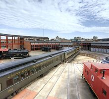 New Jersey Central Enters The Steamtown Roundhouse by Gene Walls