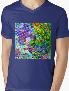 Psychedelic Planet Disco Ball Mens V-Neck T-Shirt