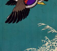 Vintage Mallard Hunting Poster Restored Sticker